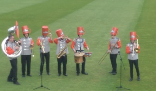 Yorkshire Tea band - with cups on their heads