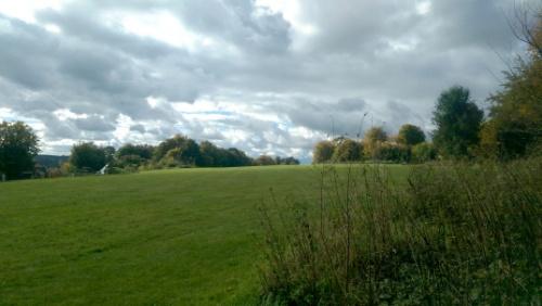 Empty park under grey clouds